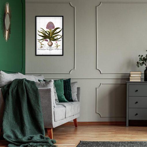 Plakat z kwiatami na deskach do sypialni