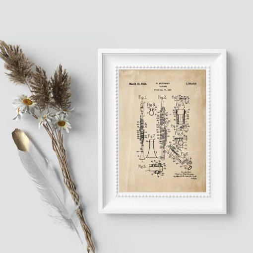 Plakat vintage dla muzyka z klarnetem