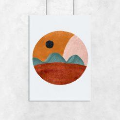 Plakat z brązowo - beżową abstrakcją do jadalni