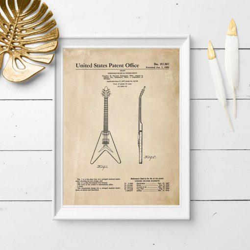 Plakat w sepii z rysunkiem patentowym gitary