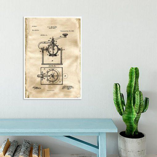 Plakat - Rysunek opisowy młynka do kawy do jadalni