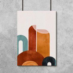 Plakat z abstrakcyjnymi kształtami w kolorze brązu