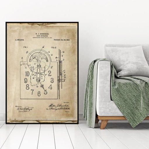 Plakat z patentem na zegar mechaniczny do gabinetu