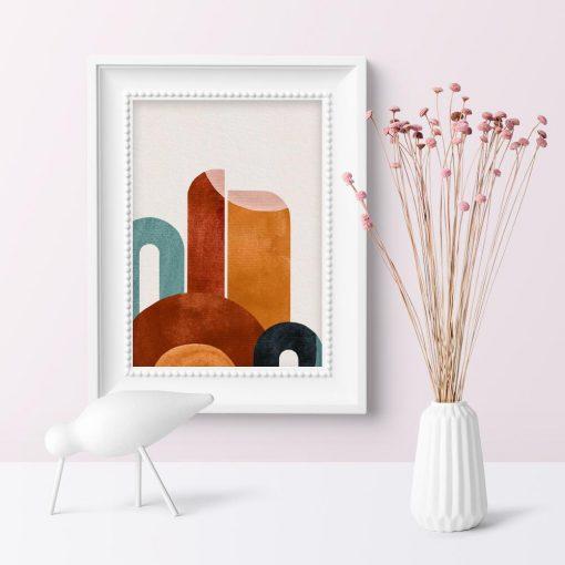 Plakat do poczekalni z abstrakcyjnymi figurami w dominującej tonacji brązu