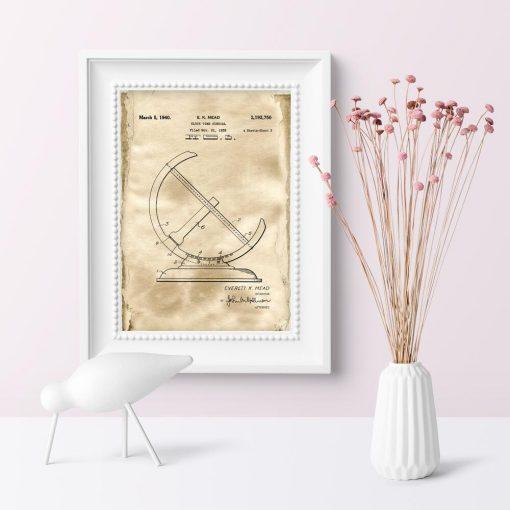Plakat z rysunkiem patentowym zegara - Reprodukcja do pokoju młodzieżowego