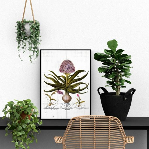 Plakat z kwiatami na deskach do biura