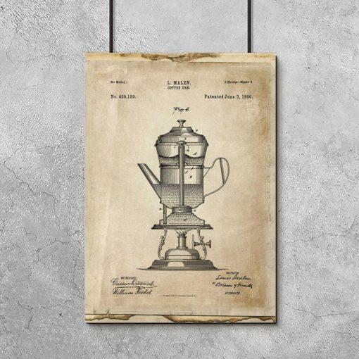 Plakat ze schematem ekspresu do kawy