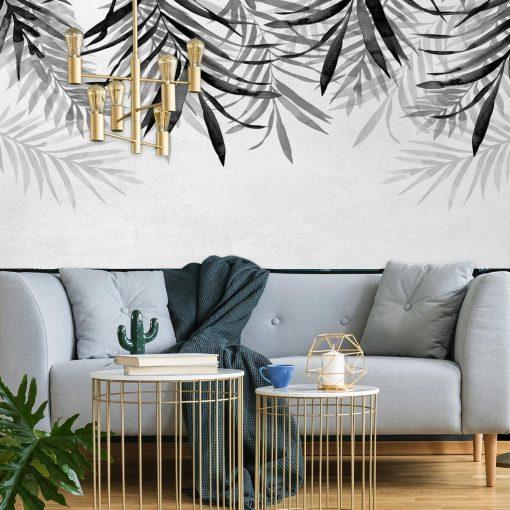 Foto-tapeta z motywem szarych liści do dekoracji salonu