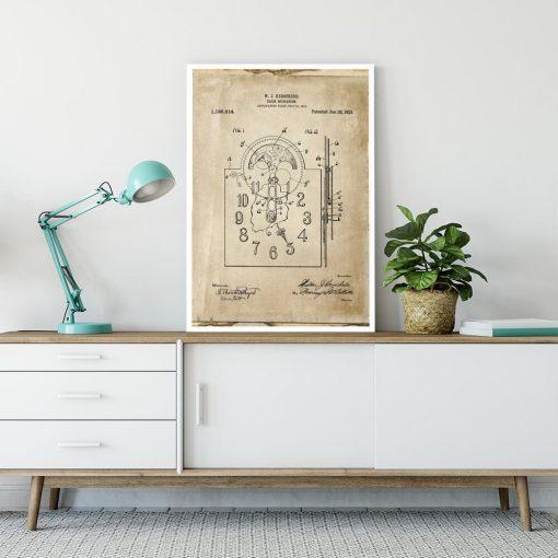 Plakat z patentem na zegar mechaniczny do pokoju