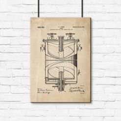 Plakat vintage z patentem na kuchenkę do gotowania
