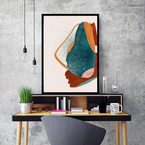 Artystyczny plakat z pomarańczową plamą do sypialni