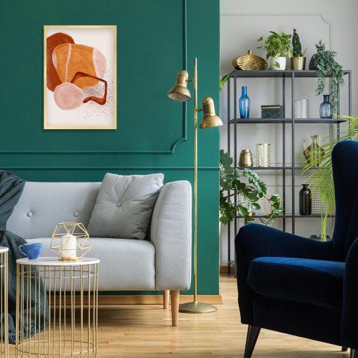 Abstrakcyjny plakat z brązową akwarelą do sypialni