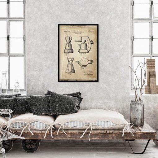 Plakat - Reprodukcja rysunku z ekspresem do kawy do restauracji