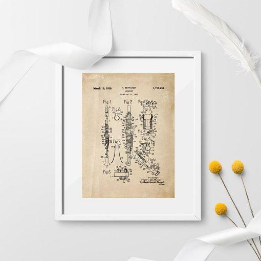 Plakat ze schematem budowy klarnetu z roku 1927