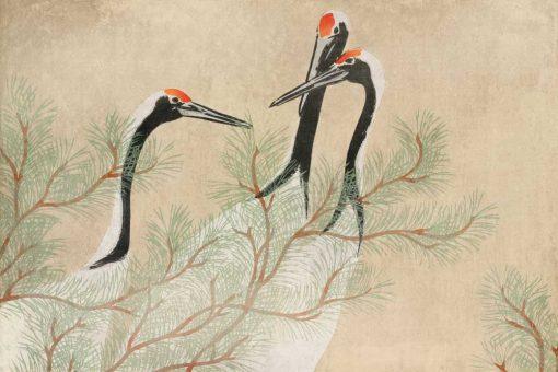 Kamisaka Sekka - tapeta z reprodukcją Żurawi