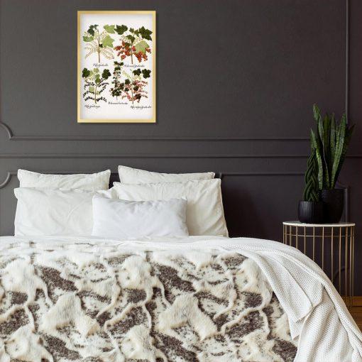 Botaniczny plakat boho z porzeczkami do sypialni