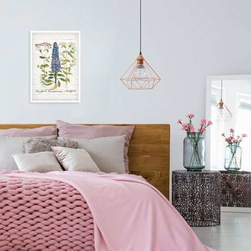 Edukacyjny plakat botaniczny z motywem polnych kwiatów do sypialni