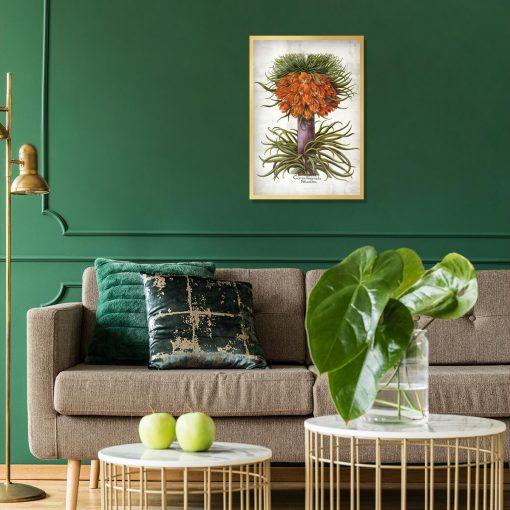 Plakat florystyczny z cesarską koroną do salonu
