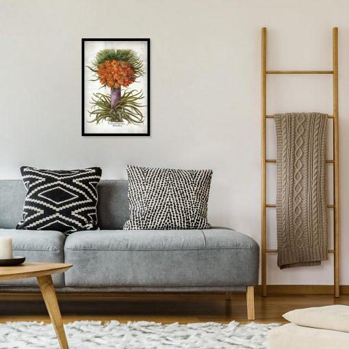 Plakat florystyczny z cesarską koroną do sypialni