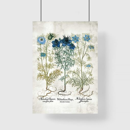 Plakat z motywem niebieskich kwiatów