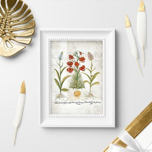Plakat z motywem roślinnym kwitnących