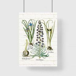 Plakat z motywem roślinnym na tle cegieł