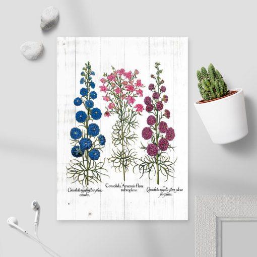 Plakat z polnymi roślinami na tle desek