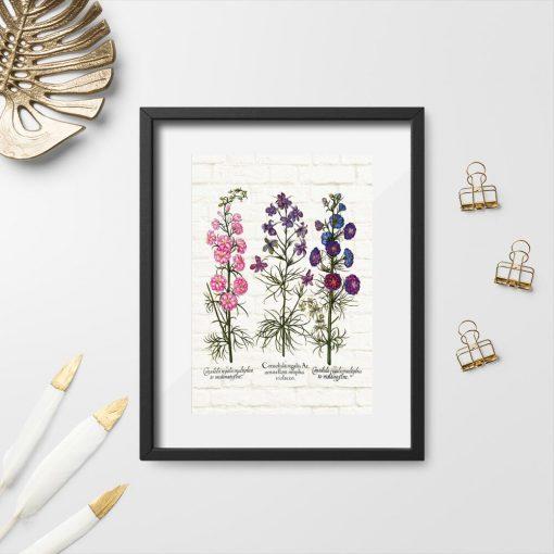 Plakat z roślinami łąkowymi na tle cegieł