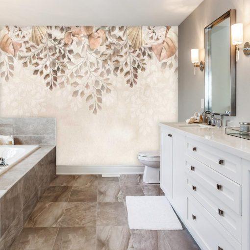 Finezyjna fototapeta z pastelową roślinnością do łazienki