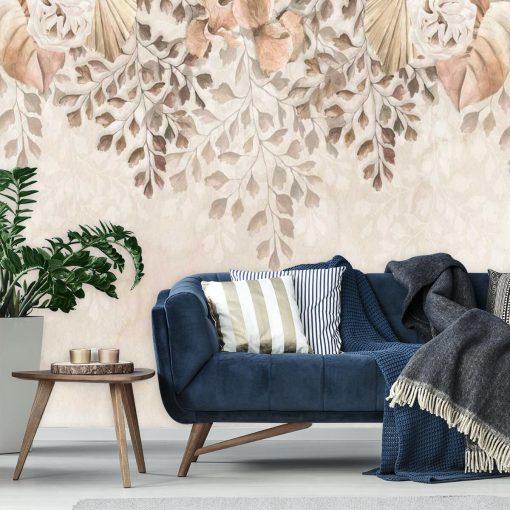 Finezyjna fototapeta z pastelową roślinnością do salonu