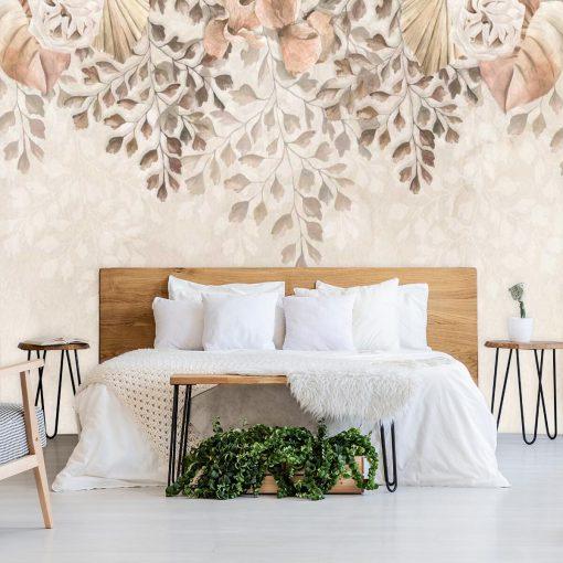Finezyjna fototapeta z pastelową roślinnością do sypialni