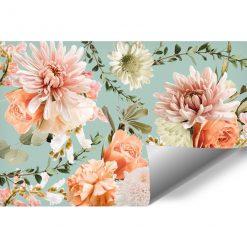 Finezyjna tapeta z różowymi kwiatami do gabinetu kosmetycznego