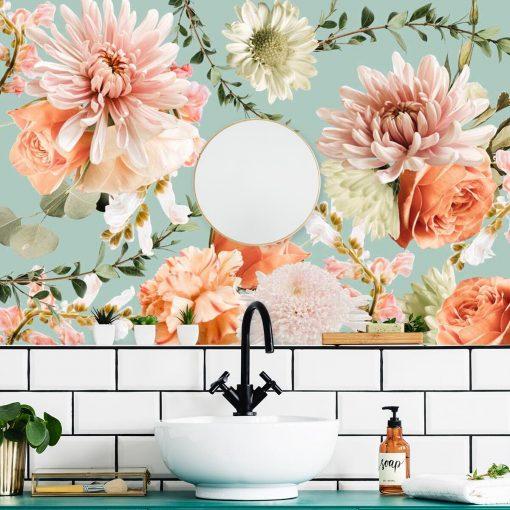 Finezyjna tapeta z różowymi kwiatami do łazienki
