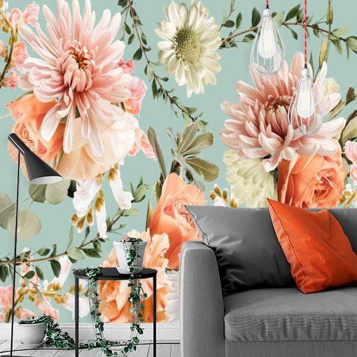 Finezyjna tapeta z różowymi kwiatami do salonu