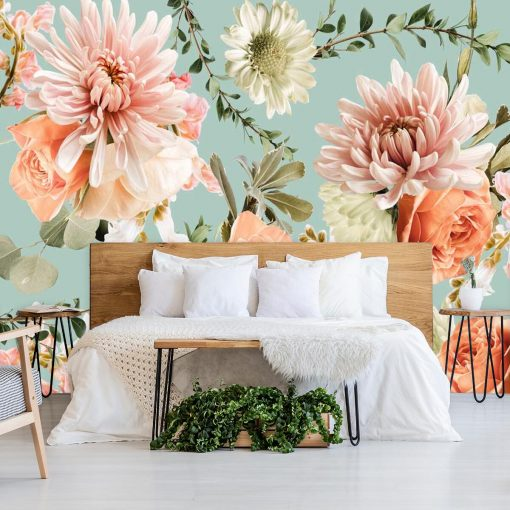 Finezyjna tapeta z różowymi kwiatami do sypialni