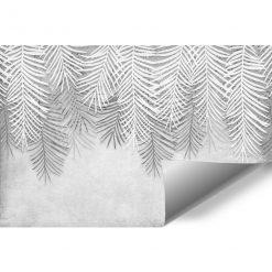 Foto-tapeta w szare liście palmowe do gabinetu