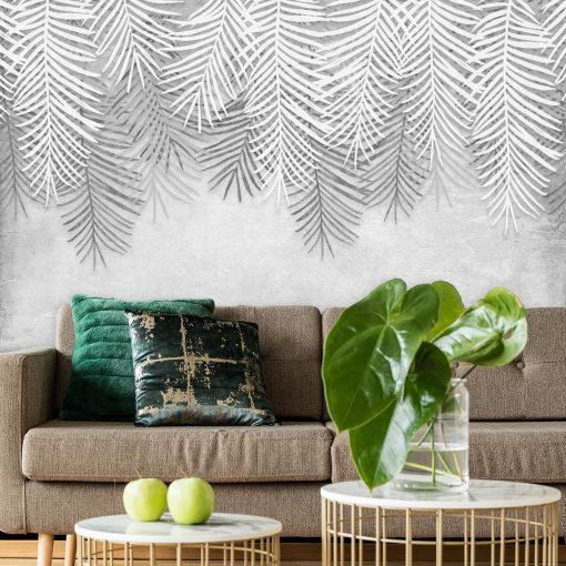 Foto-tapeta w szare liście palmowe do pokoju