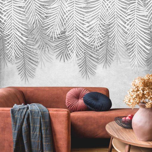 Foto-tapeta w szare liście palmowe do salonu