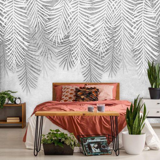Foto-tapeta w szare liście palmowe do sypialni