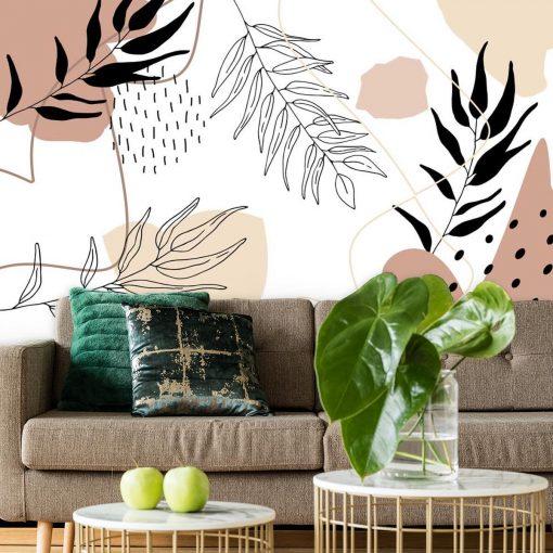 Foto-tapeta z abstrakcja i roślinami