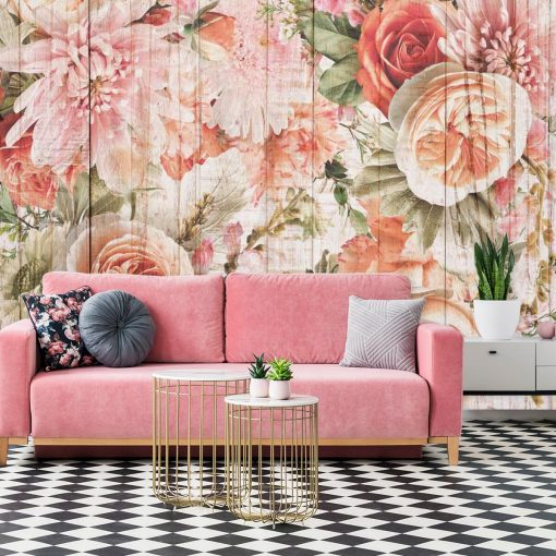 Foto-tapeta z kwiatami na tle desek w kolorze różowym