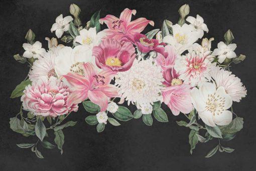 Foto-tapeta z kwiatowym stroikiem na szarym tle