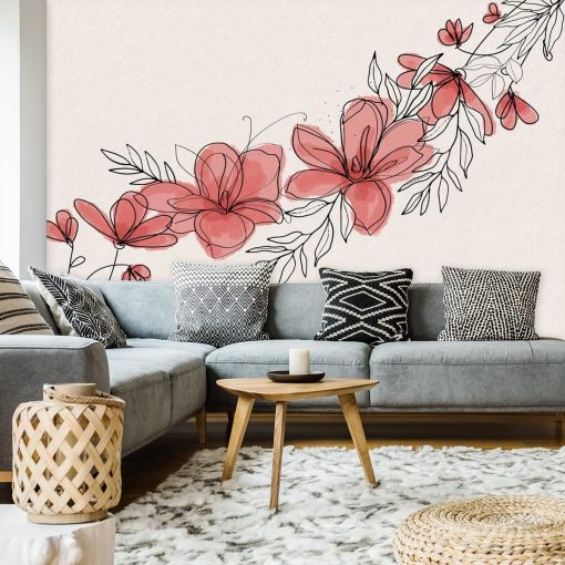 Foto-tapeta z tonacji różu z motywem kwiatowym