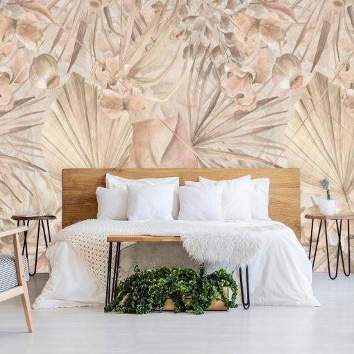 Fototapeta boho- Egzotyczne liście do sypialni