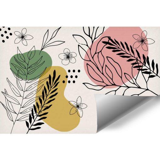 Fototapeta motyw roślinny na tle abstrakcji