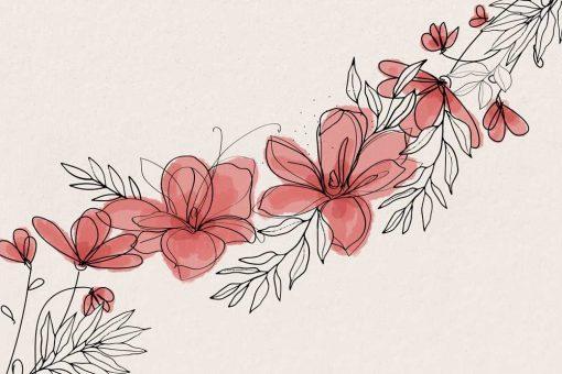 Fototapeta z kwiatkami w tonacji różu