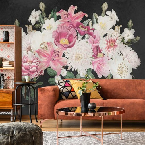 Fototapeta z kwiatowymi motywami na szarym tle