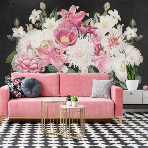 Fototapeta z liliami na szarym tle
