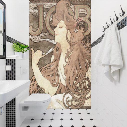 Fototapeta z secesyjną reprodukcją reklamy papierosów do łazienki