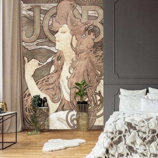 Fototapeta z secesyjną reprodukcją reklamy papierosów do sypialni